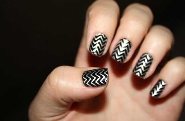 Glam Rock Wedding Style Black Silver Nails