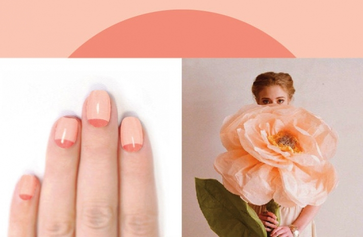 pastel wedding nails peach two tone