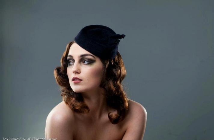 deep navy pillbox hat for bridesmaid