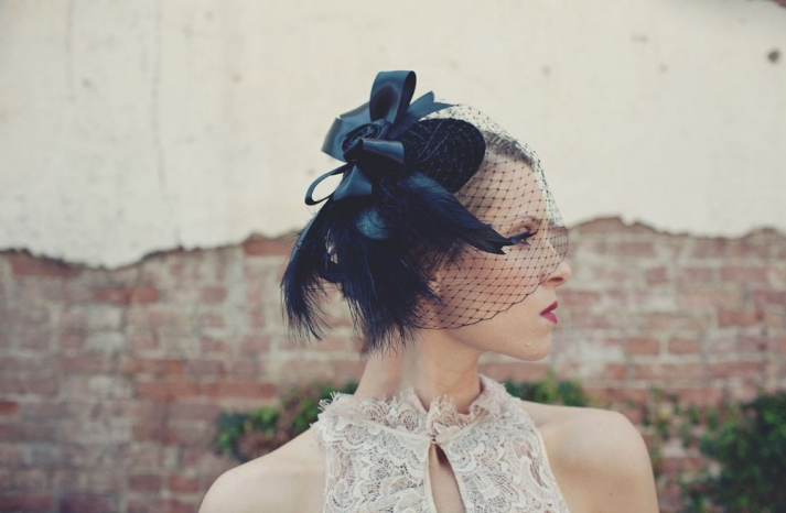 Black net wedding hat for bridesmaids with feathers