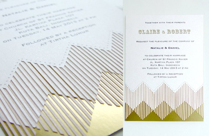 Fringe designer wedding invitation gold champagne ivory