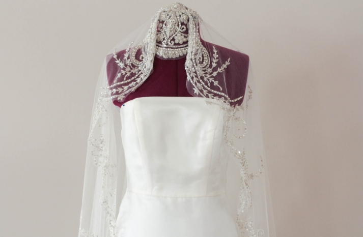Beaded bridal veil art deco inspired