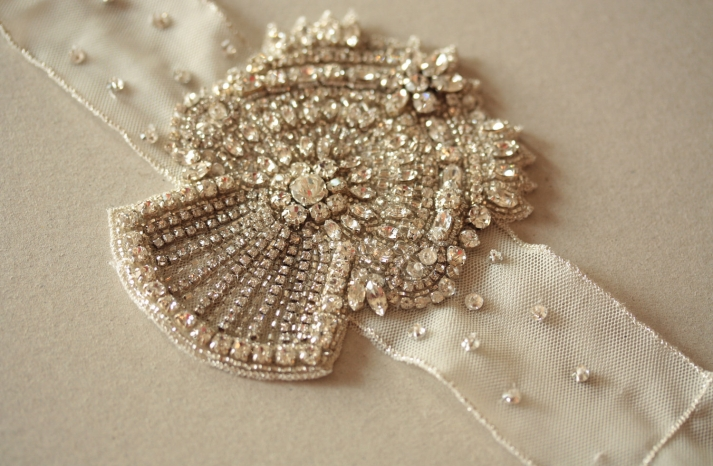 Art Deco Beaded Bridal Bracelet with Tulle