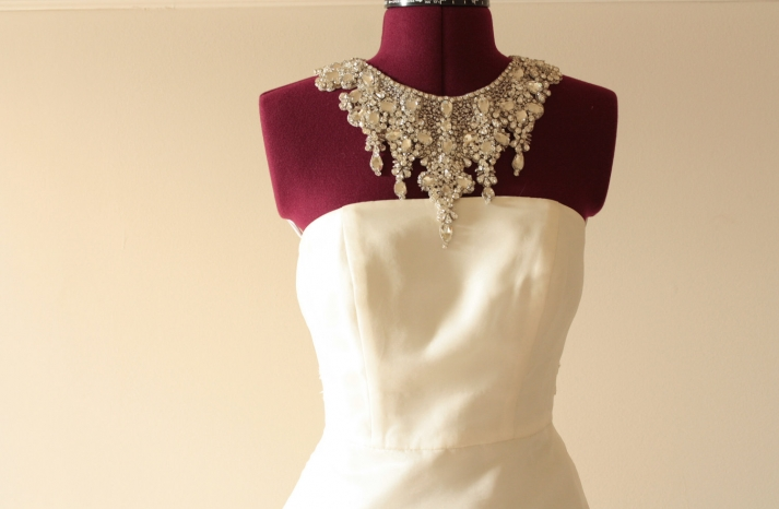 Statement collar beaded wedding necklace