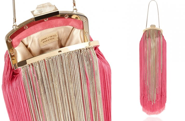 Funky Fringe Pink and Gold Wedding Purse