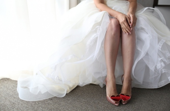 Blush wedding shoes with Red Sparkly Hearts