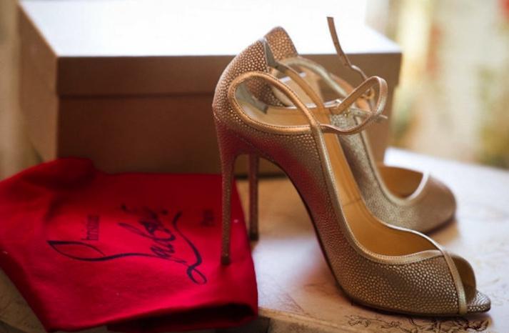 Gold peep toe wedding shoes by Christian Louboutin