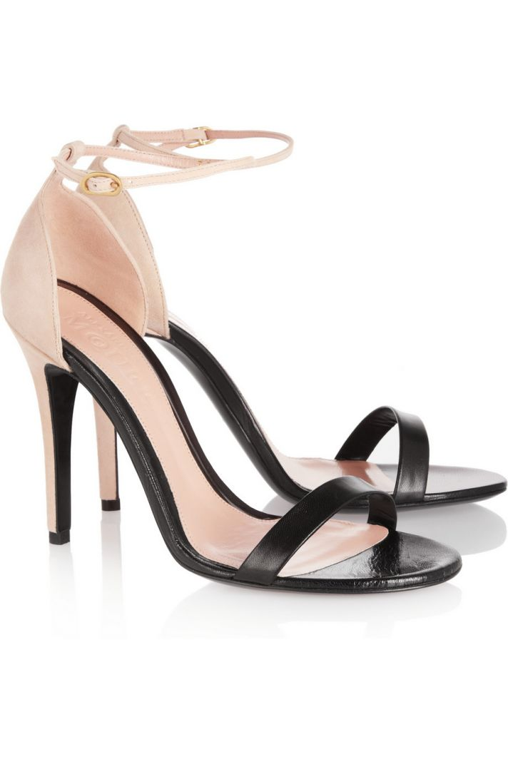 Black and Blush Strappy Wedding Shoes