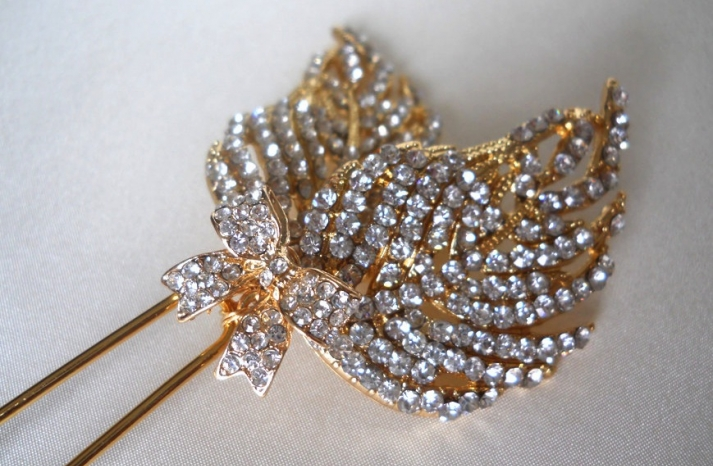 Silver and Gold Leaf Design Wedding Hair Comb