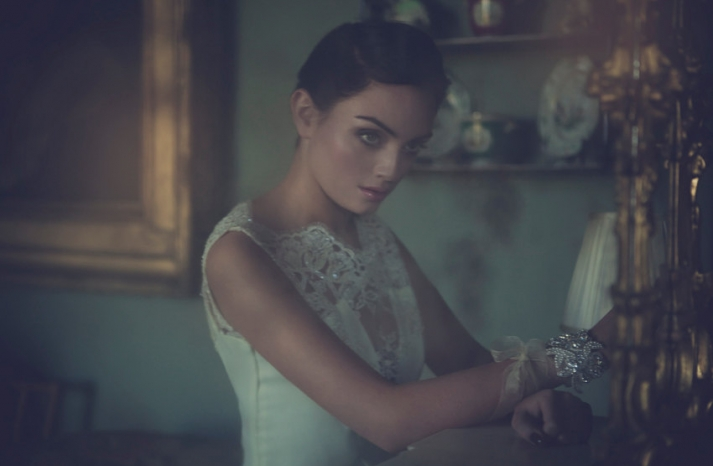 Sheer lace and beaded illusion wedding dress neckline