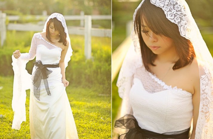 One shoulder white lace wedding dress with black sash