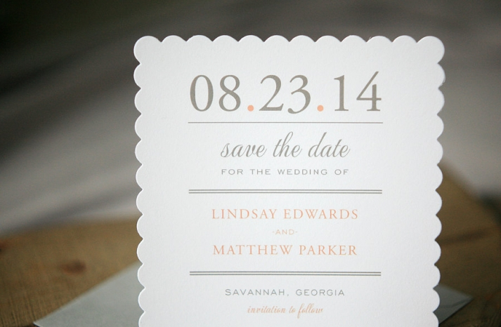 Scalloped edge wedding save the dates