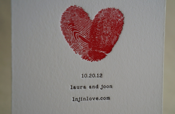 Ivory and red thumbprint wedding save the date