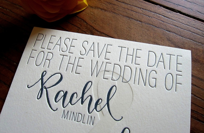 Modern whimsical wedding save the date ivory and navy