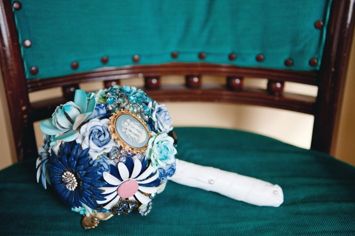 Something Blue wedding bouquet vintage brooches