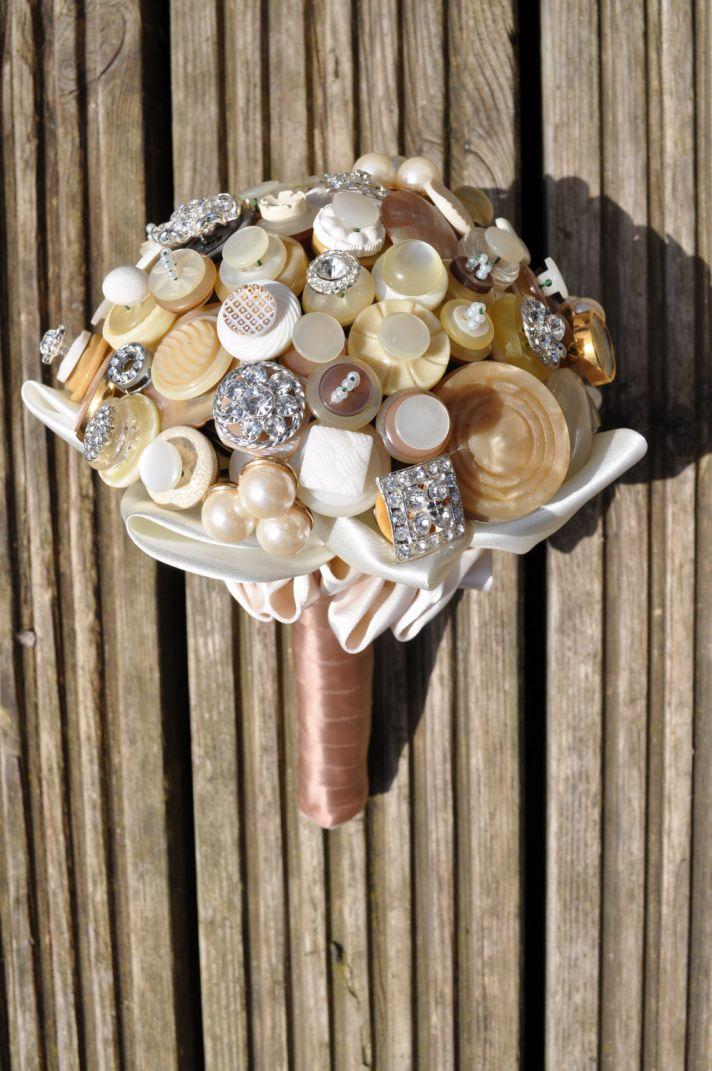 Neutral wedding colors vintage button bouquet
