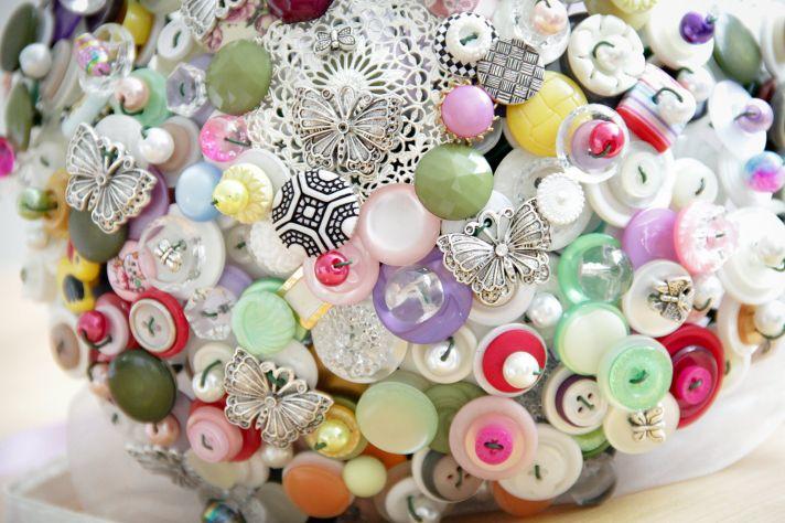 Whimsical vintage button bridal bouquet