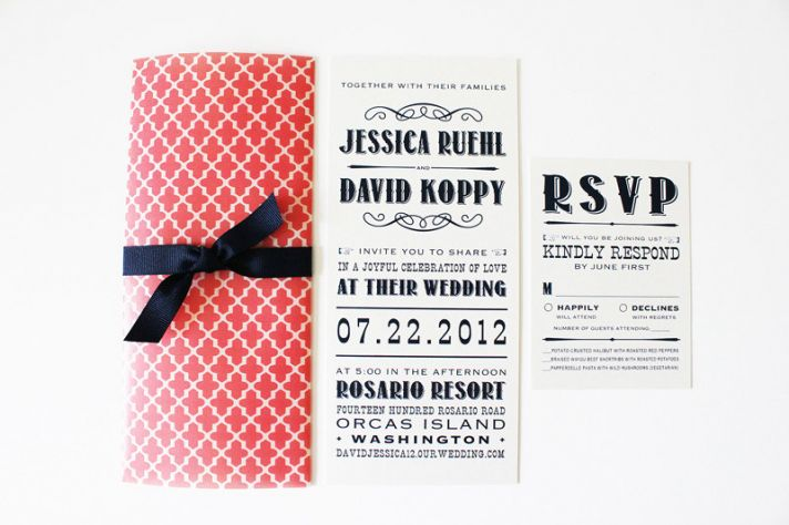 Coral White Navy Playbill Wedding Invitations