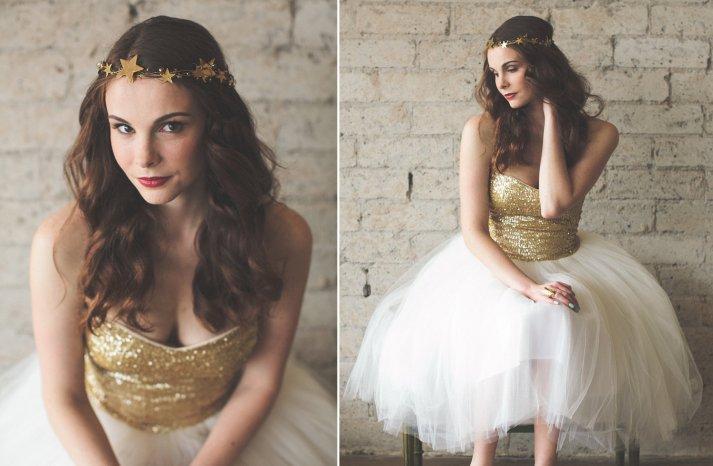 Gold sequin and tulle LWD for wedding reception