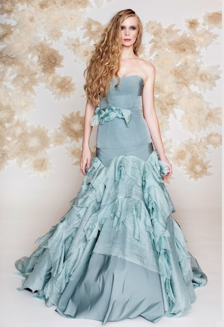 Blue wedding dress drop waist mermaid by Tara Latour