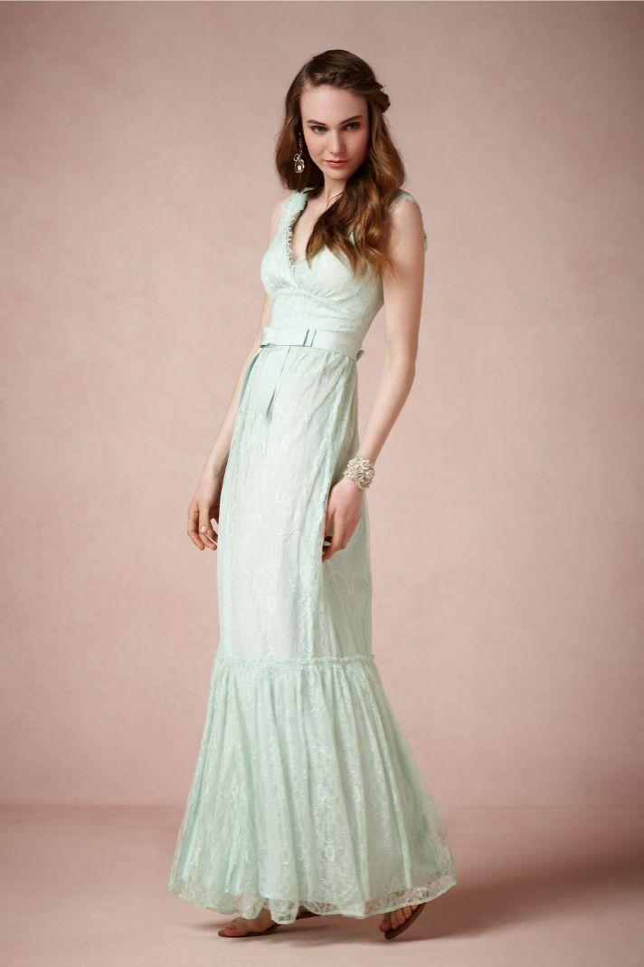 Pastel aqua lace wedding dress by bhldn