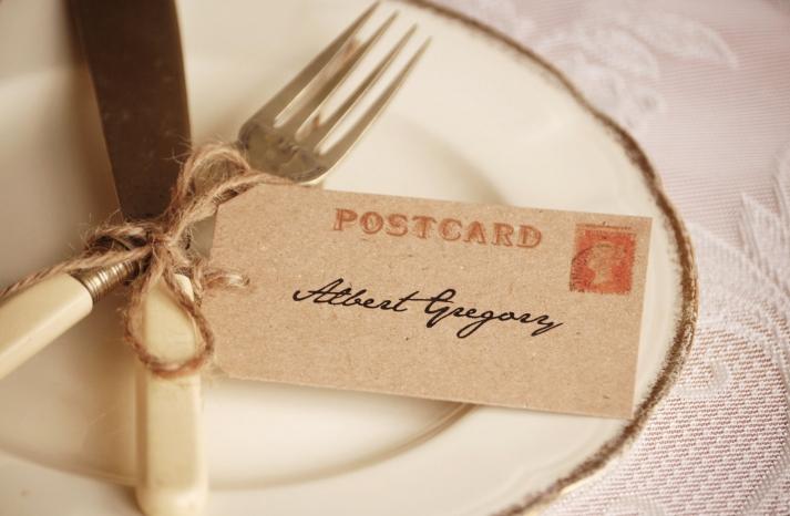 Simple wedding place setting vintage postcard escort card