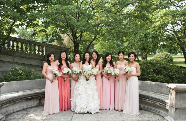 Long bridesmaids dresses in different pink shades