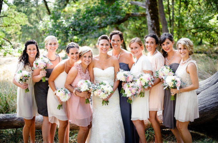 Unique mix and match bridesmaids outdoor romantic wedding