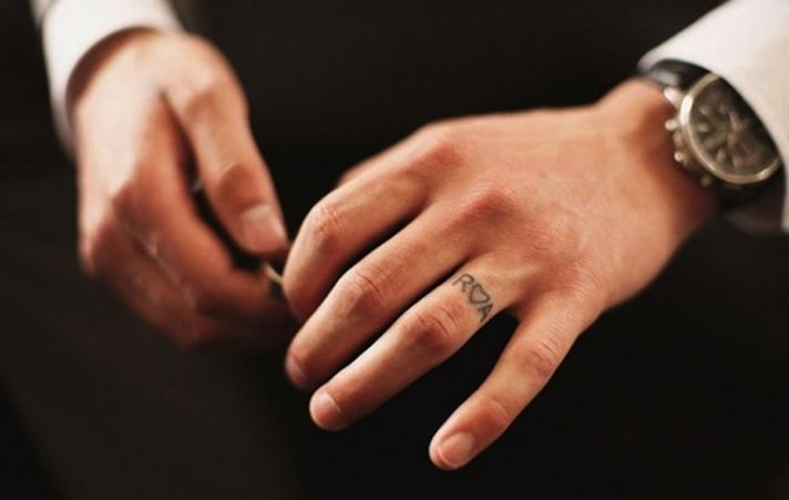 Initials plus heart wedding ring tattoo