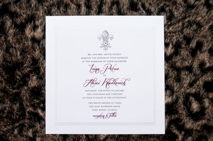 Simple square wedding invitations with purple calligraphy