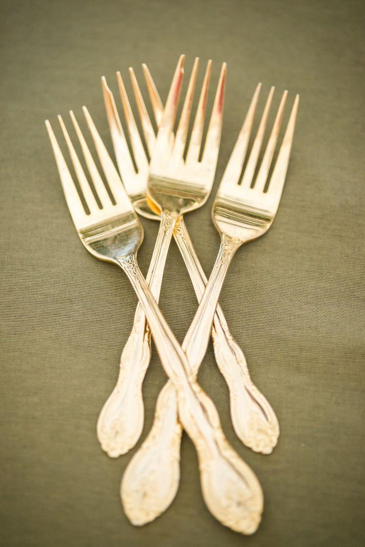 Gold forks for vintage wedding reception