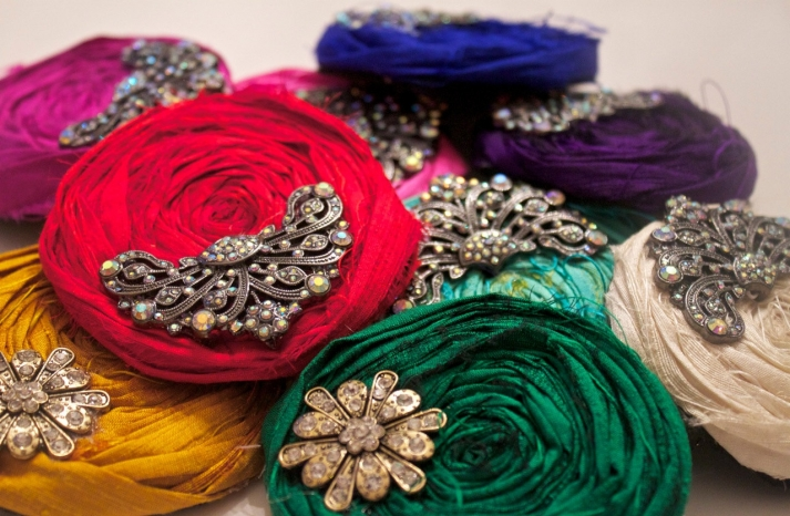 Rainbow rosettes for bridesmaids shoes or hair