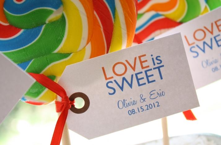 Lollipop wedding favors with custom tags
