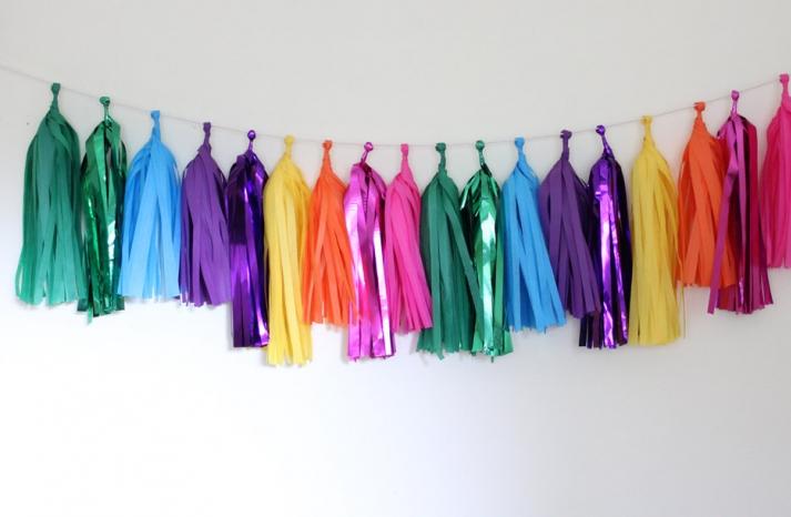 Colorful rainbow wedding garland tassels