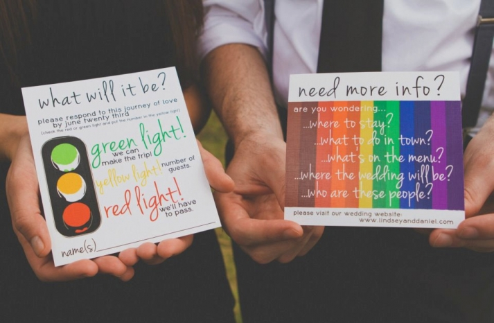 Awesome wedding invitations bold colorful
