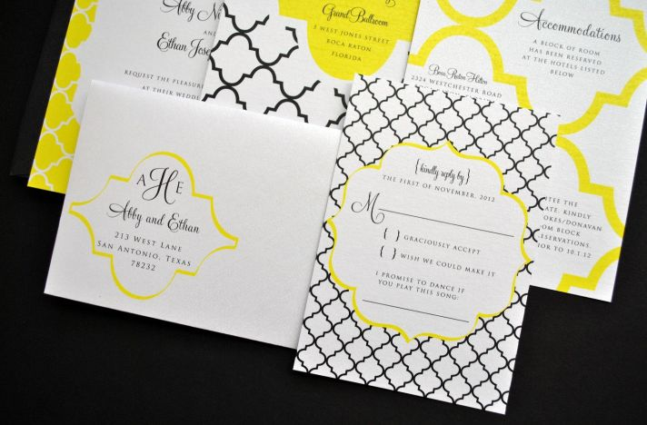 White yellow black memorable wedding invitations