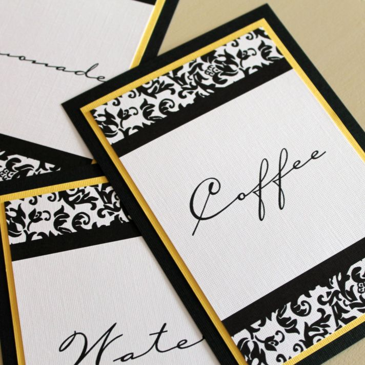 Damask wedding reception table numbers black white yellow
