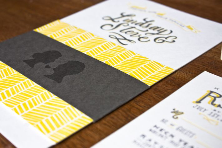 Romantic silhouette wedding invitations yellow white black