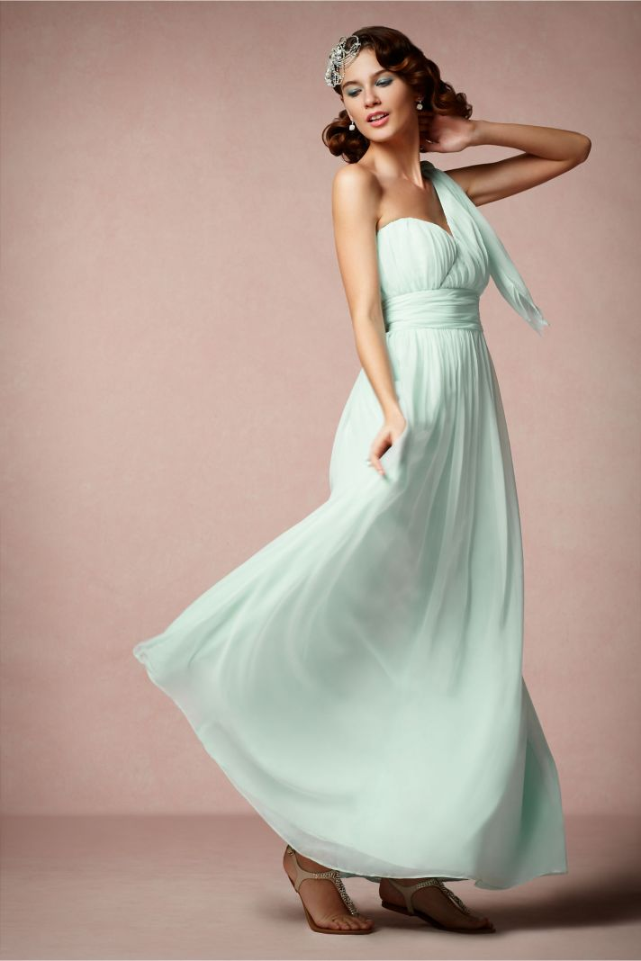 Pastel aqua bridesmaid dress with grecian inspired draping