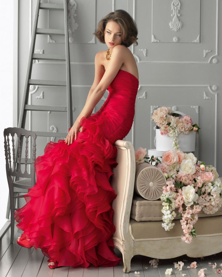 Bright red ruffle mermaid bridesmaid dress