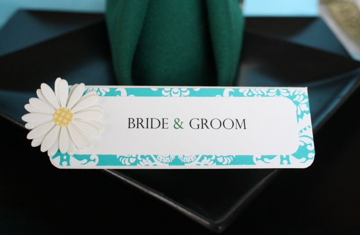White aqua yellow daisy wedding escort cards