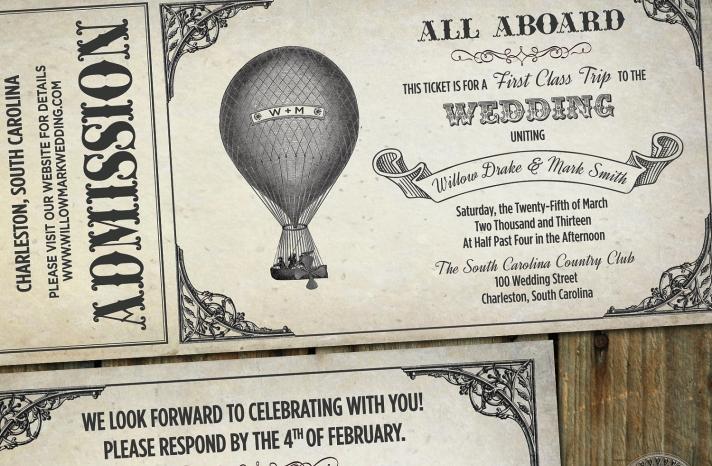Vintage Southern wedding hot air balloon invites