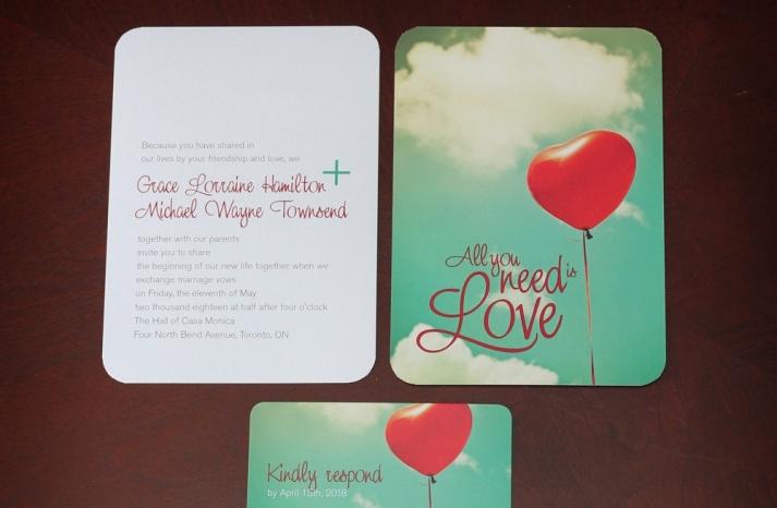 heart shaped balloon wedding invitation