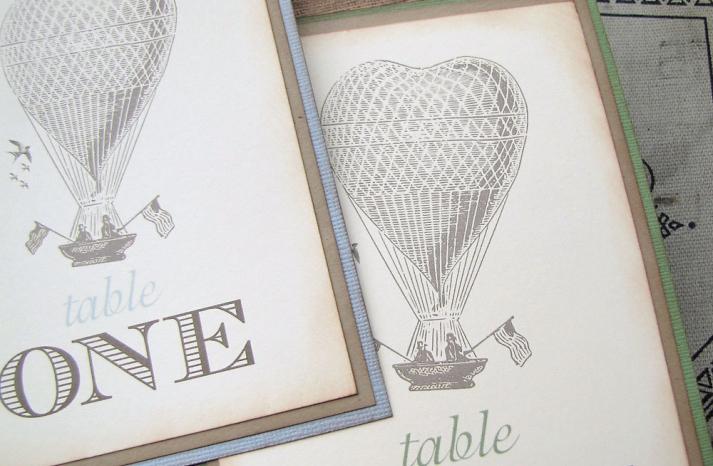 Vintage balloon wedding table numbers