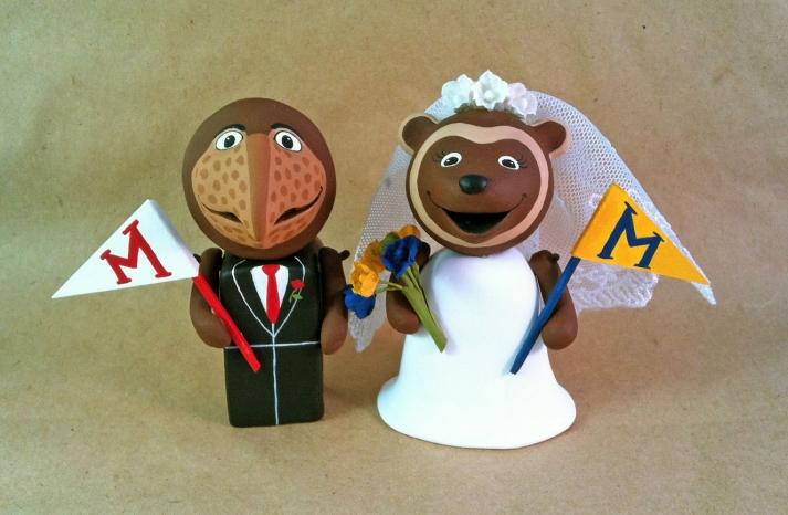 adorable wedding cake topper Michigan alum
