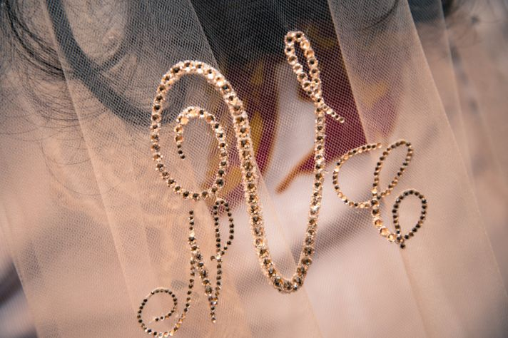 Monogrammed wedding veil