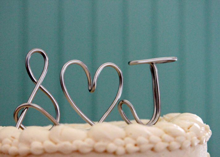 Custom wedding cake topper monogram silver