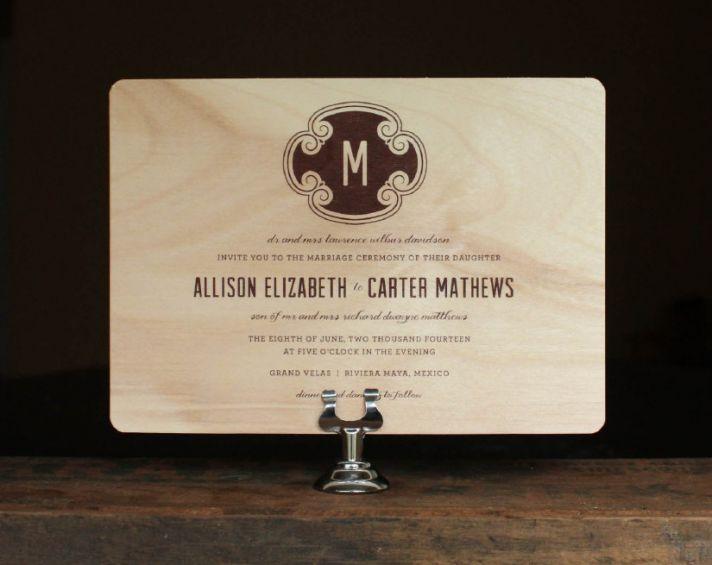 Rustic wood wedding invitation with custom monogram