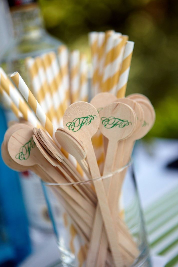 Custom wedding reception touches drink stirs