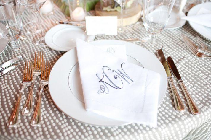Monogrammed napkins at wedding reception